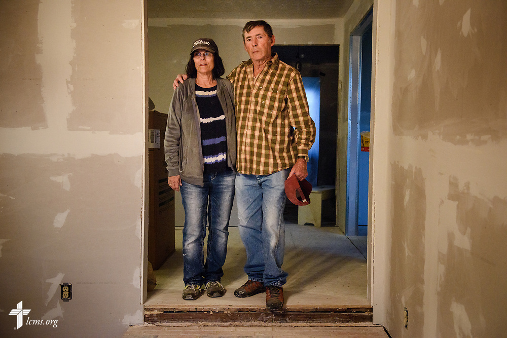 Portrait of homeowners Larry and Joan Sensat, who are being helped by LCMS volunteers, at their home in Rose City, Texas, on Wednesday, Feb. 7, 2018. Their home was severely damaged from Hurricane Harvey. LCMS Communications/Erik M. Lunsford