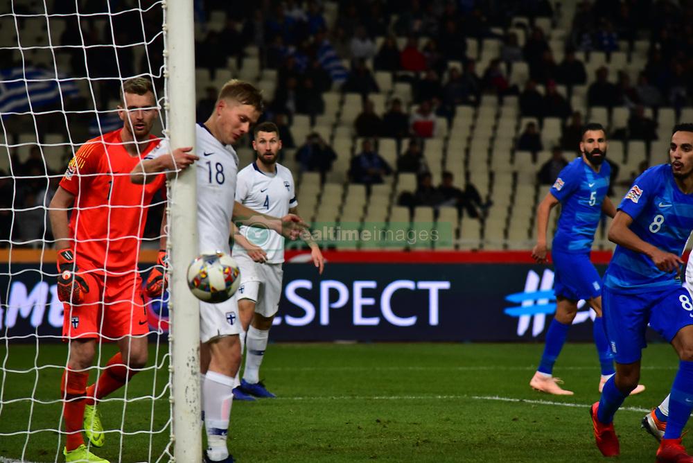 November 15, 2018 - Athens, Attiki, Greece - Missing chance for Greek team to score. (Credit Image: © Dimitrios Karvountzis/Pacific Press via ZUMA Wire)