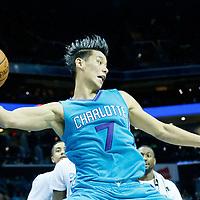 01 November 2015: Charlotte Hornets guard Jeremy Lin (7) saves the ball during the Atlanta Hawks 94-92 victory over the Charlotte Hornets, at the Time Warner Cable Arena, in Charlotte, North Carolina, USA.