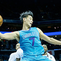 01 November 2015: Charlotte Hornets guard Jeremy Lin (7) saves the ball during the Atlanta Hawks 94-92 victory over the Charlotte Hornets, at the Time Warner Cable Arena, in Charlotte, North Carolina, USA.
