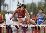 Chanel Brisett of Southern California wins the women's 100m hurdles in 12.89 during an NCAA college dual meet in Los Angeles, Sunday, April 28, 2019.