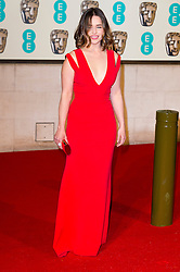 © Licensed to London News Pictures. 14/02/2016. London, UK. EMILIA CLARKE <br /> arrives on the red carpet for the EE British Academy Film Awards 2016 after party held at Grosvenor House . London, UK. Photo credit: Ray Tang/LNPPhoto credit: Ray Tang/LNP
