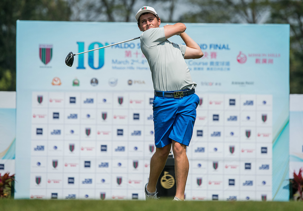 Matthew McLean of New Zealand in action during day one of the 10th Faldo Series Asia Grand Final at Faldo course in Shenzhen, China. Photo by Xaume Olleros.