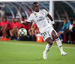 July 31, 2018 - Miami Gardens, Florida, USA - Real Madrid C.F. forward Vinicius Junior (28) controls the ball during an International Champions Cup match between Real Madrid C.F. and Manchester United F.C. at the Hard Rock Stadium in Miami Gardens, Florida. Manchester United F.C. won the game 2-1. (Credit Image: © Mario Houben via ZUMA Wire)