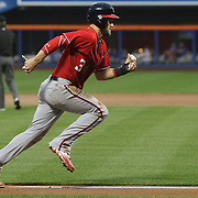 NEW YORK, NEW YORK - July 09: Bryce Harper #34 of the Washington Nationals runs home from third for the Washington Nationals first run in the second inning during the Washington Nationals Vs New York Mets regular season MLB game at Citi Field on July 09, 2016 in New York City. (Photo by Tim Clayton/Corbis via Getty Images)