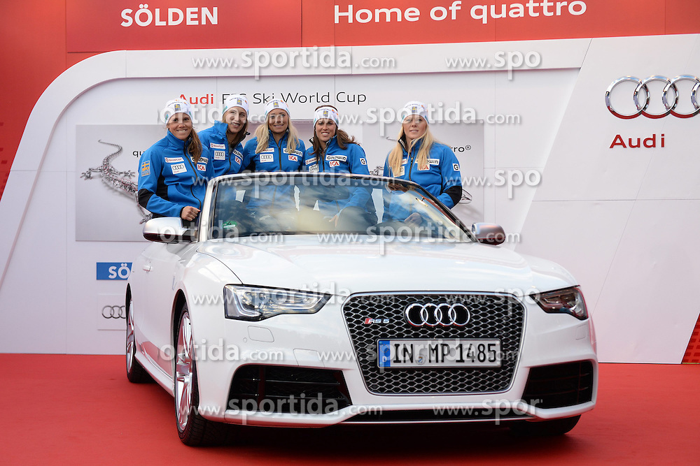 24.10.2013, Audi Lounge, Soelden, AUT, FIS Ski Alpin, Soelden, im Bild Team Sweden during the Audi press conference prior to the alpine skiing world cup opening race at the Audia Lounge, Soelden, Austria on 2013/10/22. EXPA Pictures © 2013, PhotoCredit: EXPA/ Mitchell Gunn<br /> <br /> *****ATTENTION - OUT of GBR*****