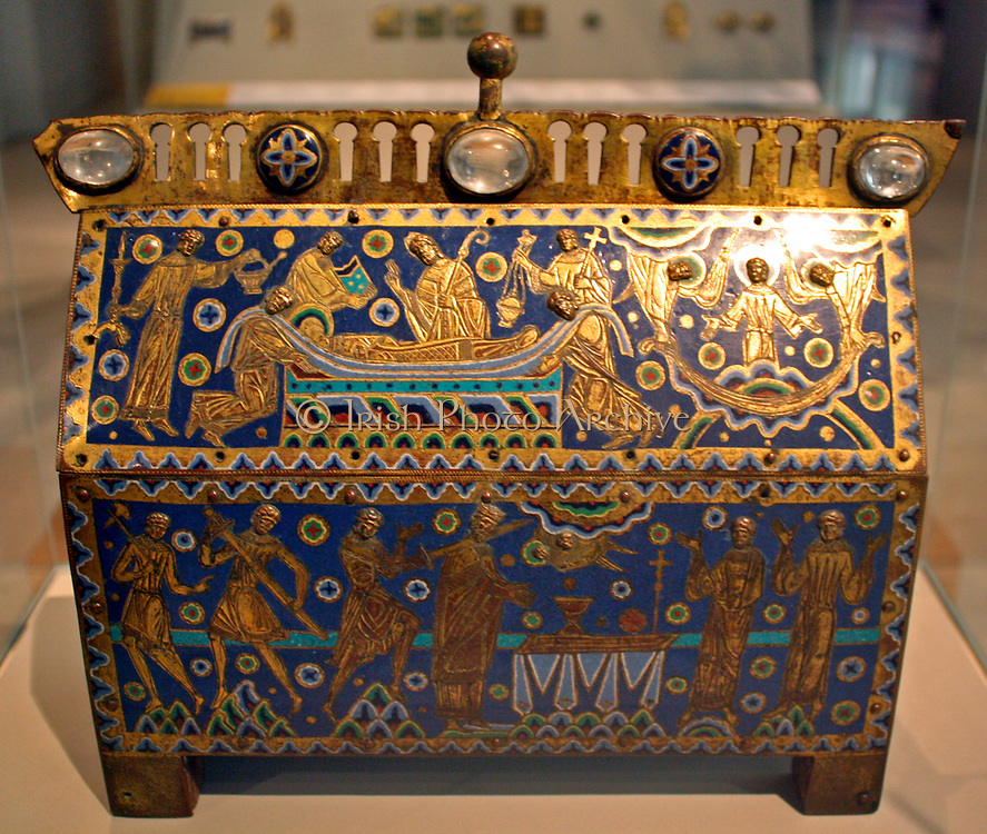 The Becket Casket circa 1180.  The murder of Archbishop Thomas Becket in 1170 stunned the Christian world.  Canterbury Cathedral immediately become a major pilgrimage site and a shrine was built over his grave. This commemorates Becket's martyrdom and may have contained relics.  The front depicts the murder.  The lid shows his burial and his soul ascending to Heaven.