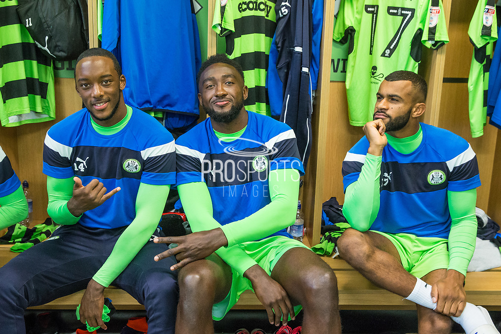 Forest Green Rovers Shamir Mullings(14), Forest Green Rovers Manny Monthe(6) and Forest Green Rovers Dan Wishart(17) in the dressing room prior to the kick off during the EFL Sky Bet League 2 match between Forest Green Rovers and Exeter City at the New Lawn, Forest Green, United Kingdom on 9 September 2017. Photo by Shane Healey.