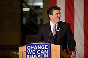 Rhode Island attorney general Patrick Lynch introducing Michelle Obama's brother Craig Robinson at a rally for Barack Obama, Warwick, RI, February 20, 2008..