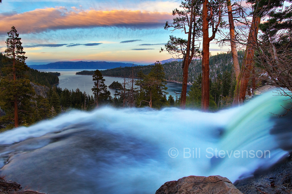 A blurry time lapse shot of Eagle Falls near Emerald Bay on Lake Tahoe in California