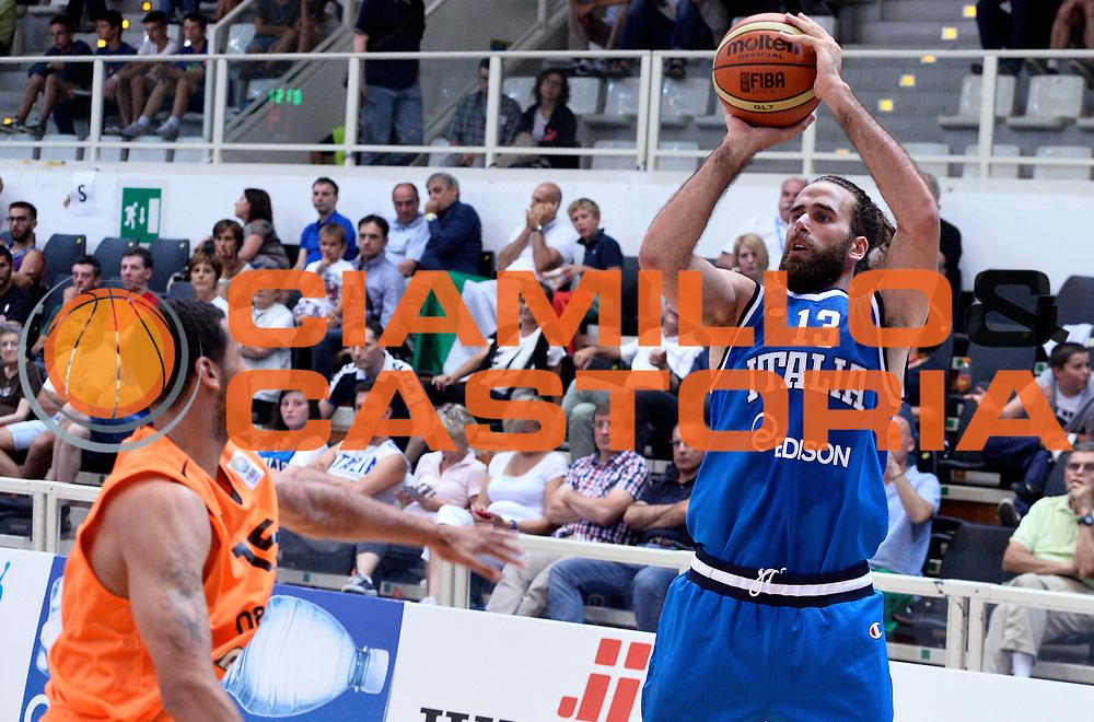 DESCRIZIONE : Trento Nazionale Italia Uomini Trentino Basket Cup Italia Olanda Italy Holland<br /> GIOCATORE : Luigi Datome<br /> CATEGORIA : tiro three points<br /> SQUADRA : Italia Italy<br /> EVENTO : Trentino Basket Cup<br /> GARA : Italia Olanda Italy Holland<br /> DATA : 11/07/2014<br /> SPORT : Pallacanestro<br /> AUTORE : Agenzia Ciamillo-Castoria/R.Morgano<br /> Galleria : FIP Nazionali 2014<br /> Fotonotizia : Trento Nazionale Italia Uomini Trentino Basket Cup Italia Olanda Italy Holland
