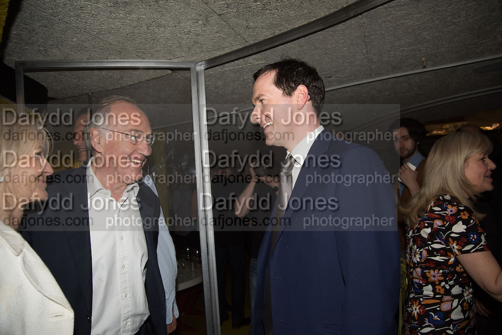 SANDRA HOWARD; MICHAEL HOWARD; GEOFFREY OSBORNE, Launch of ' More Human',  Designing a World Where People Come First' by Steve Hilton. Party held at Second Home in Princelet St, off Brick Lane, London. 19 May 2015.