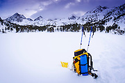 Pack and ski poles, John Muir Wilderness, Sierra Nevada Mountains, California  USA
