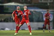York City midfielder James Berrett  waiting for the ball  during the Sky Bet League 2 match between York City and Exeter City at Bootham Crescent, York, England on 16 February 2016. Photo by Simon Davies.