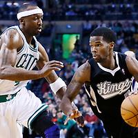 30 January 2013: Sacramento Kings point guard Aaron Brooks (3) drives past Boston Celtics shooting guard Jason Terry (4) during the Boston Celtics 99-81 victory over the Sacramento Kings at the TD Garden, Boston, Massachusetts, USA.