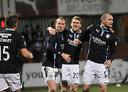 Jim McAlister is congratulated after scoring by David Clarkson and James McPake - Dundee v Ross County, SPFL Premiership at Dens Park<br /> <br />  - &copy; David Young - www.davidyoungphoto.co.uk - email: davidyoungphoto@gmail.com