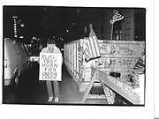 8th jan '93 friday 6.30p.m. pickitts outside Times Sq. Hotel 43rd st/ 8th ave member of local 46 will have been picetting outside here for i year on Feb 1 (they want the hotel to employ union labour)© Copyright Photograph by Dafydd Jones 66 Stockwell Park Rd. London SW9 0DA Tel 020 7733 0108 www.dafjones.com