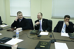 Senate Republicans meet after adjournment, Monday, Feb. 10, 2014 at Capitol Offices in Frankfort.