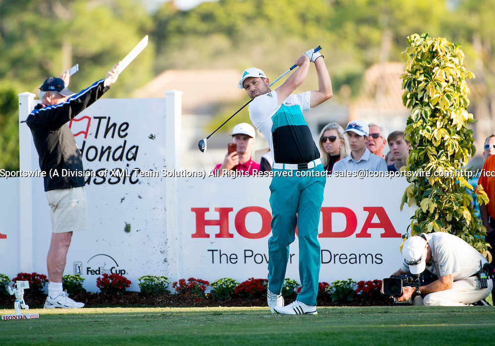 27 February 2016: Sergio Garcia tees off during the third round of the Honda Classic at the PGA National Resort & Spa in Palm Beach Gardens, FL.