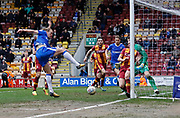 Chance missed by Gillingham forward Tom Eaves during the EFL Sky Bet League 1 match between Bradford City and Gillingham at the Northern Commercials Stadium, Bradford, England on 24 March 2018. Picture by Paul Thompson.