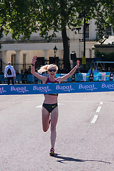 London, May 25th 2014. Gemma Steel wins the women's Bupa London 10,000 in a time of 32 minutes and 32 seconds.