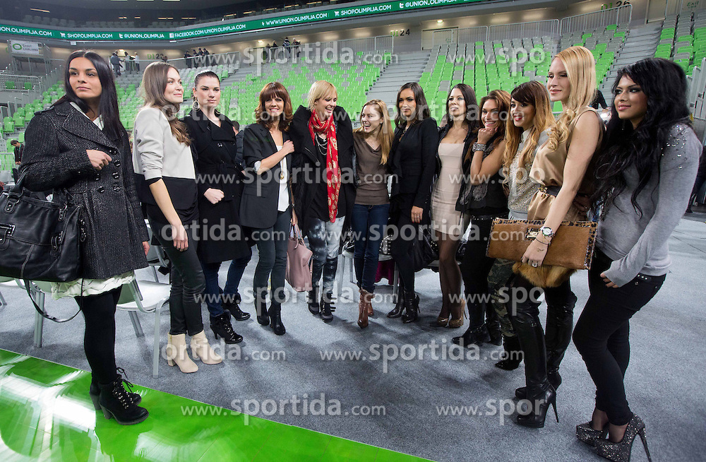 Slovenian Top fashion Models presenting calendar after the basketball match between KK Union Olimpija and Buducnost Voli Podgorica in 13 Round of ABA League, on December 17, 2012 in Arena Stozice, Ljubljana, Slovenia. Union Olimpija defeated Buducnost after 3 overtimes 95-92. (Photo By Vid Ponikvar / Sportida.com)