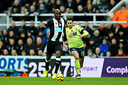 Jetro Willems (#15) of Newcastle United on th e ball pursued by Adam Smith (#15) of AFC Bournemouth during the Premier League match between Newcastle United and Bournemouth at St. James's Park, Newcastle, England on 9 November 2019.