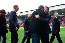 Bristol City manager Lee Johnson greets Former players and Gerry's family after they line up pitchside for a minutes silence in memory of Bristol City legend Gerry Gow who recently passed away - Rogan Thomson/JMP - 22/10/2016 - FOOTBALL - Ashton Gate Stadium - Bristol, England - Bristol City v Blackburn Rovers - Sky Bet EFL Championship.