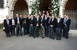 The groom and friends at the wedding of Clementine Hambro to Orlando Fraser at St.Margarets Westminster Abbey, London on 3rd November 2006.<br />