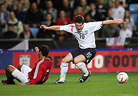 Photo: Rich Eaton.<br /> <br /> England U21 v Germany U21. UEFA European Championship Play-Off 1st Leg. 06/10/2006. David Nugent right of England turns inside Marvin Matip of Germany