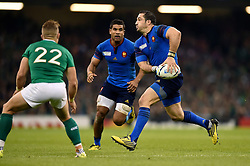 Scott Spedding of France looks to pass the ball - Mandatory byline: Patrick Khachfe/JMP - 07966 386802 - 11/10/2015 - RUGBY UNION - Millennium Stadium - Cardiff, Wales - France v Ireland - Rugby World Cup 2015 Pool D.