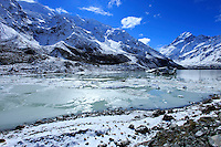 At the head of the Hooker Valley walk in Mt Cook National Park lies a spectacular glacial lake with views out towards Mt Cook, New Zealand's tallest mountain.