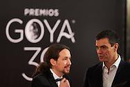 Pablo Iglesias, Pedro Sanchez attends Goya Cinema Awards 2016 at Centro de Congresos Principe Felipe on February 6, 2016 in Madrid, Spain.