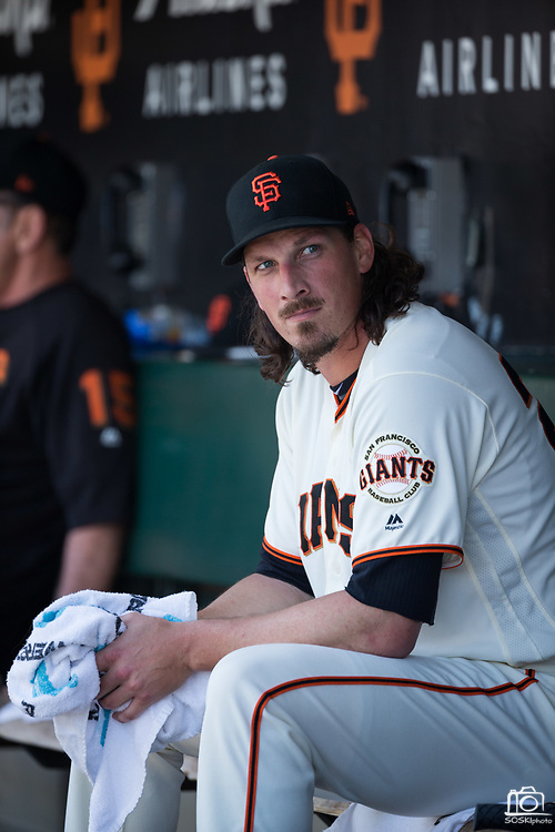 San Francisco Giants starting pitcher Jeff Samardzija (29) hangs out in the dugout during a MLB game against the Arizona Diamondbacks at AT&T Park in San Francisco, California, on August 6, 2017. (Stan Olszewski/Special to S.F. Examiner)
