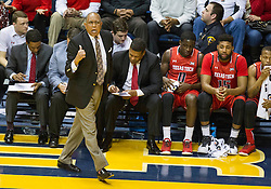 Mar 2, 2016; Morgantown, WV, USA; Texas Tech Red Raiders head coach Tubby Smith yells from the bench during the first half against the West Virginia Mountaineers at the WVU Coliseum. Mandatory Credit: Ben Queen-USA TODAY Sports