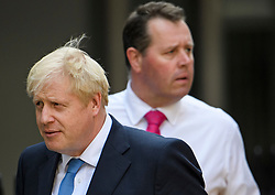 © Licensed to London News Pictures. 23/07/2019. London, UK. BORIS JOHNSON and his new Chief Whip MARK SPENCER  leave Conservative Party headquarters after Boris was elected the new leader of the Conservative party. Today the Conservative Party Elected Boris Johnson as their new leader and Prime Minister, following Theresa May's announcement that she will step down. Photo credit: Ben Cawthra/LNP