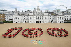 Client: LOCOG. Guardsman form 100 at Horseguards Parade to mark 100 Days to the start of London 2012. Photo: David Poultney