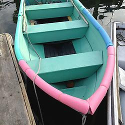 Pink and Green Skiff, Castine, Maine, US