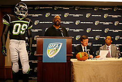Aug 13, 2009; New York, NY, USA; New York Sentinels Head Coach Ted Cottrell speaks at the press conference unveiling the uniform for the New York Sentinels at The Princeton Club.