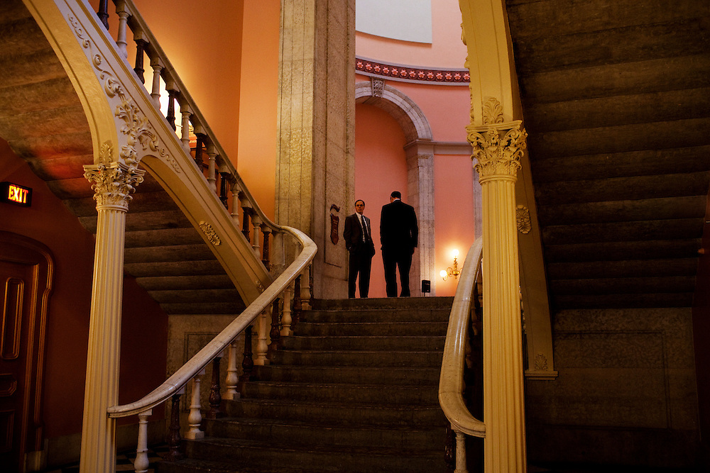 Politicians mingle in the State House in Columbus, Ohio on Thursday, February 24, 2011, around the introduction of Senate Bill 5. SB5 would eliminate collective bargaining rights for state workers, which Governor John Kasich claims is a necessary reaction to the budget crisis.
