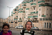 Two Jewish children walking the streets in the settlement of Har Gilo. Image © Angelos Giotopoulos/Falcon Photo Agency
