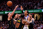 Jun 8, 2018; Cleveland, OH, USA; Golden State Warriors guard Shaun Livingston (34) passes the ball against Cleveland Cavaliers forward Larry Nance Jr. (22), forward LeBron James (23), and guard Kyle Korver (26) in game four of the 2018 NBA Finals at Quicken Loans Arena.