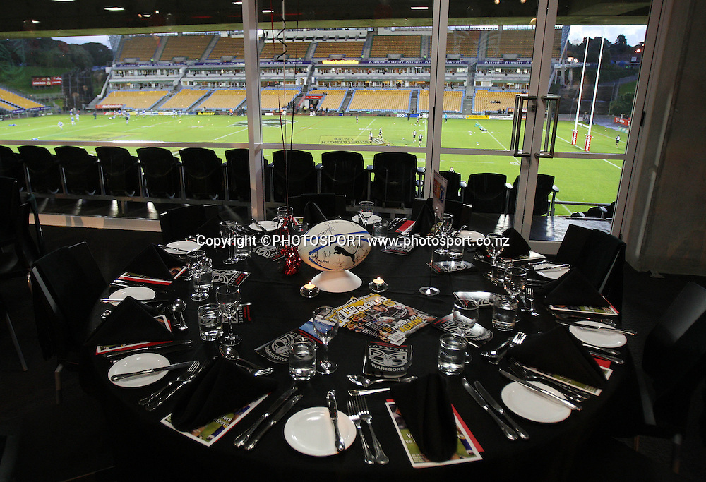 Dinner setting. Vodafone Warriors vs Penrith Panthers at Mt Smart Stadium, Auckland on Friday 22 June 2007. Photo: Andrew Cornaga/PHOTOSPORT <br />