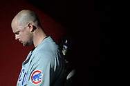 Aug 12, 2017; Phoenix, AZ, USA; Chicago Cubs starting pitcher Jon Lester (34) sits in the dugout in the first inning of the MLB game against the Arizona Diamondbacks at Chase Field. Mandatory Credit: Jennifer Stewart-USA TODAY Sports