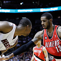 08 March 2011: Portland Trail Blazers power forward LaMarcus Aldridge (12) defends on Miami Heat power forward Chris Bosh (1) during the Portland Trail Blazers 105-96 victory over the Miami Heat at the AmericanAirlines Arena, Miami, Florida, USA.