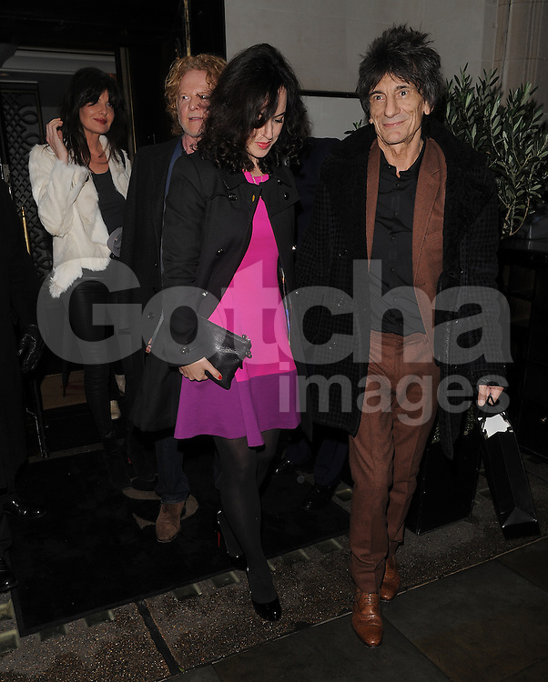 Wesberry Gabriella, Mick Hucknall, Ronnie Wood and his wife Sally Humphreys at Scott's restaurant in Mayfair, London, UK. 15/01/2014<br />
