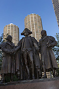 Herald Square Monument of George Washington, Robert Morris and Hyam Salomon Memorial holding hands in Chicago, IL.