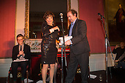 JOAN COLLINS; ALEXANDER WAUGH, The Literary Review Bad Sex in Fiction Award 2013. The In and Out Club, 4 St. james's Sq. London. 3 December 2013