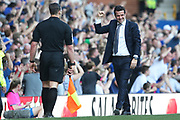 A happy Everton Manager Marco Silva celebrates another Everton goal during the Premier League match between Everton and Manchester United at Goodison Park, Liverpool, England on 21 April 2019.