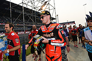 BURIRAM, THAILAND - MARCH 25: Chaz Davies (#7) of Great Britain and Aruba.it Racing – Ducati reaction while heading back to the pit on Day 3 at the Motul Thai Round Superbike World Championship 2018, Chang International Circuit, Buriram, Thailand on March 25, 2018.<br /> .<br /> .<br /> .<br /> (Photo by: Naratip Golf Srisupab/SEALs Sports Images)<br /> .<br /> Any image use must include a mandatory credit line adjacent to the content which should read: Naratip Golf Srisupab/SEALs Sports Images